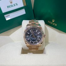 Rolex Rose gold Automatic Grey No numerals 42mm pre-owned Sky-Dweller