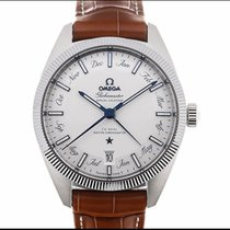 Omega Globemaster pre-owned 41mm Silver Date Month Annual calendar Leather