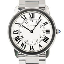 Cartier Steel Quartz White Roman numerals 36mm pre-owned Ronde Solo de Cartier