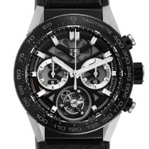 TAG Heuer Carrera Heuer-02T pre-owned 45mm Chronograph Tourbillon Tachymeter Fold clasp