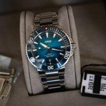 Oris Aquis Date pre-owned 39.5mm Blue Date Steel