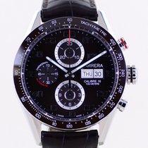 TAG Heuer Carrera Calibre 16 gebraucht 43mm Braun Chronograph Datum Tachymeter Leder