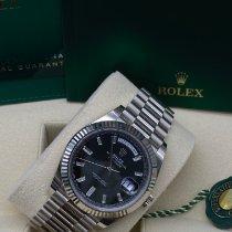 Rolex Day-Date 40 Белое золото 40mm Черный Римские