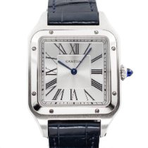 Cartier Santos Dumont pre-owned 43.5mm Silver Crocodile skin