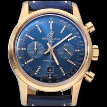Breitling Transocean Chronograph 38 Roségoud 38mm Blauw Geen cijfers