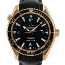 Omega Red gold Automatic Black 41.5mm pre-owned Seamaster Planet Ocean