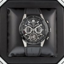 TAG Heuer Carrera Heuer-02T pre-owned 45mm Transparent Chronograph Tourbillon Date Year Tachymeter Crocodile skin