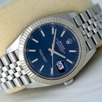 Rolex White gold Automatic Blue No numerals 41mm pre-owned Datejust