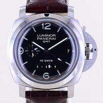 Panerai Luminor 1950 10 Days GMT Acero 44mm Negro Arábigos