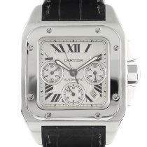 Cartier Santos 100 pre-owned 40.5mm Silver Chronograph Date Crocodile skin