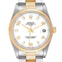 Rolex Oyster Perpetual Date Золото/Cталь 34mm Белый Aрабские