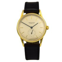 NOMOS Yellow gold Manual winding Silver No numerals 35mm pre-owned