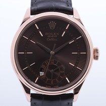 Rolex Cellini Dual Time подержанные 39mm Коричневый