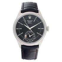 Rolex Cellini Dual Time подержанные 39mm Черный GMT/две час.зоны Кожа аллигатора