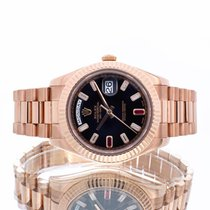 Rolex Day-Date II Aur roz 41mm Negru