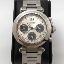 Cartier Pasha C usato 36mm Bianco Cronografo Data Acciaio