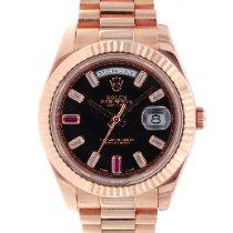 Rolex Oro rosa Automático Negro Romanos 41mm usados Day-Date II