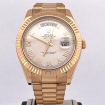 Rolex Day-Date II Geelgoud 41mm Zilver Romeins