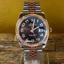 Rolex Datejust Zlato/Zeljezo 36mm Crn Arapski brojevi