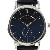 A. Lange & Söhne White gold Manual winding Black 37mm pre-owned Saxonia