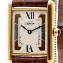 Cartier Tank Vermeil Plata Blanco Romanos