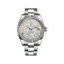 Rolex White gold Automatic White Roman numerals 42mm pre-owned Sky-Dweller