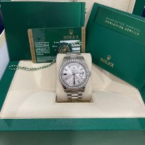 Rolex Day-Date II Oro blanco 41mm Plata Sin cifras