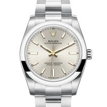 Rolex Oyster Perpetual 34 Steel 34mm Silver No numerals