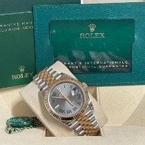 Rolex Datejust Ouro/Aço 41mm Cinzento Romanos