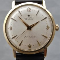 Hamilton Yellow gold Automatic Silver 33mm pre-owned Thin-O-Matic