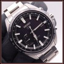 Seiko Astron GPS Solar Chronograph Steel 45.4mm Black No numerals