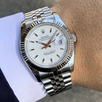 Rolex Acciaio Automatico Bianco Senza numeri 36mm usato Datejust Turn-O-Graph