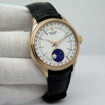 Rolex Cellini Moonphase Aur roz 39mm Alb Fara cifre