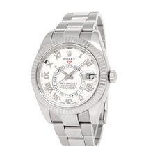 Rolex White gold Automatic Silver Roman numerals 42mm pre-owned Sky-Dweller