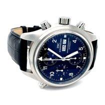 IWC Pilot Double Chronograph tweedehands 42mm Zwart Chronograaf Dubbele chronograaf Leer