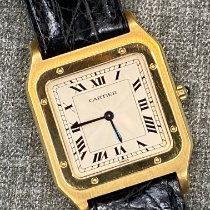 Cartier Yellow gold Manual winding Silver Roman numerals 27mm pre-owned Santos Dumont