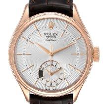Rolex Cellini Dual Time Aur roz 39mm Argint