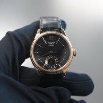 Rolex Cellini Dual Time подержанные 39mm Черный Застежка-шип