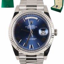 Rolex Day-Date 40 подержанные 40mm Синий Дата Белое золото