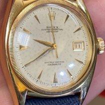 Rolex Bubble Back Gult guld 36mm Hvid Ingen tal