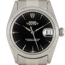 Rolex White gold Automatic Black 30mm pre-owned Oyster Perpetual Date