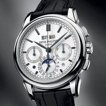 Patek Philippe White gold Manual winding Silver No numerals 41mm new Perpetual Calendar Chronograph