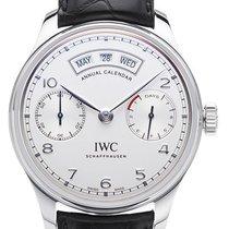 IWC Portugieser Annual Calendar Stahl 44mm Silber Arabisch