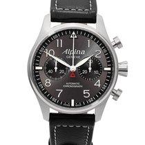 Alpina Startimer Pilot Automatic Сталь 44mm Cерый Aрабские