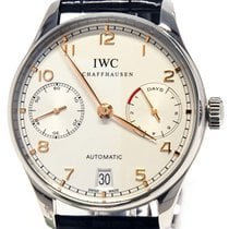 IWC Steel 42,3mm Automatic IW500704 IWC Portugieser Acciaio Bianco 42,3mm Pelle Nera pre-owned