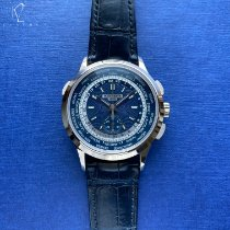Patek Philippe World Time Chronograph Weißgold 39.5mm Blau Arabisch