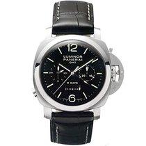 Panerai Luminor 1950 8 Days Chrono Monopulsante GMT nuevo Cuerda manual Cronógrafo Reloj con estuche y documentos originales PAM00275