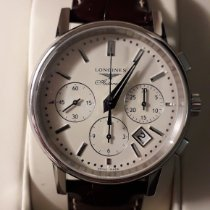 Longines Column-Wheel Chronograph pre-owned 39mm White Chronograph Date Crocodile skin