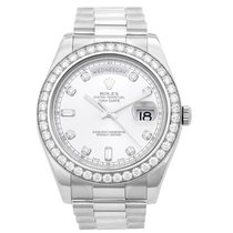 Rolex White gold Automatic Silver No numerals 41mm pre-owned Day-Date II