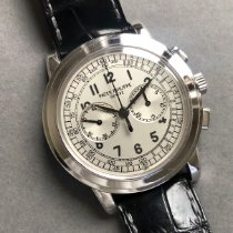 Patek Philippe Chronograph gebraucht 42mm Silber Chronograph Krokodilleder